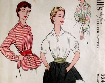 Vintage 1950s Blouse Pattern McCall's 3243 Bust 32