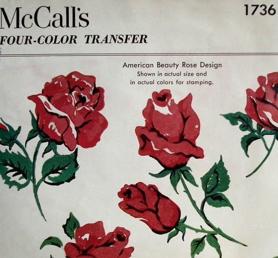 Vintage 1950s Red Rose Transfer Pattern McCall's 1736 American Beauty