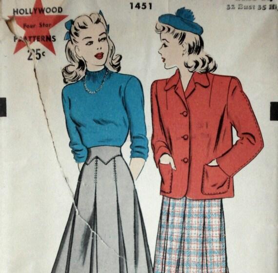 Vintage Wartime 1940s Jacket & Skirt Pattern Hollywood 1451 Bust 32