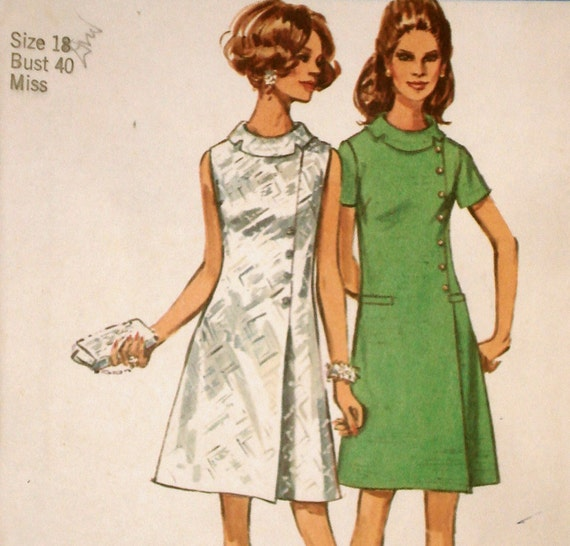 Vintage 60s Mod Asymmetric Dress Pattern Simplicity 8541 Bust 40