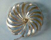 Large Signed Pin Wheel Floral Brooch