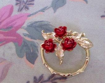 Vintage Red Enamel Rose Wreath Brooch