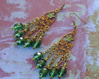 Floral Deep Green Earrings