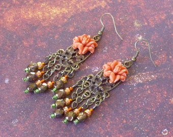 Coral Lily Earrings