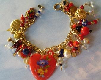 Vintage Floral Heart Charm Bracelet