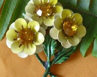 Vintage Golden Topaz Rhinestone Yellow Flower Brooch