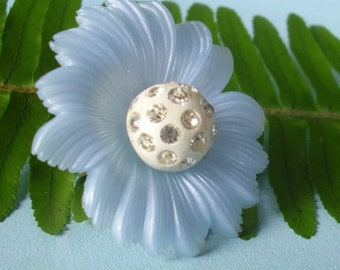 Baby Blue Seussical Flower Rhinestone Ring