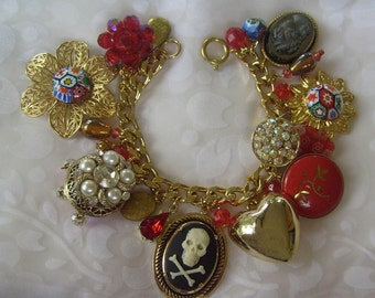 Jolly Roger in a Vintage Flower Garden Charm Bracelet