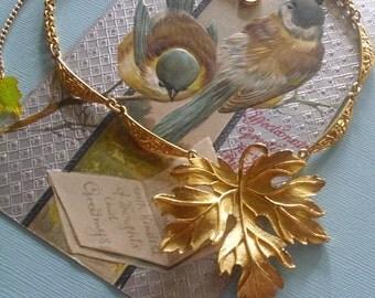A Leaf for All Seasons... Golden Splendor... Pendant Necklace