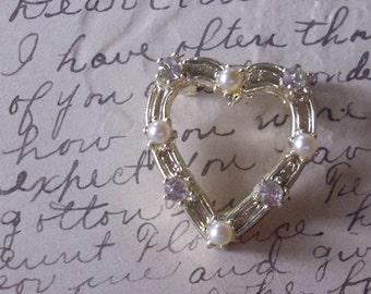 Vintage Pearl and Rhinestone Heart Brooch