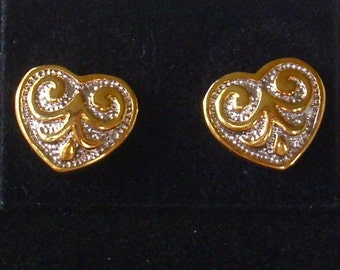 Vintage Silver and Gold Heart Earrings