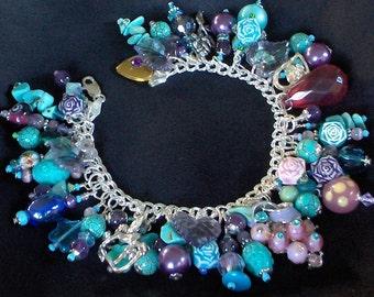 Roses are Violet and Blue Sterling Silver Charm Bracelet