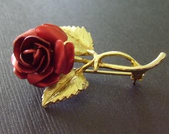 Vintage Dimensional Red Rose Brooch