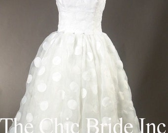 Short Polka Dot Wedding Dress 24 hours only FREE SHIPPING code freeshipjune