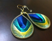 Peacock Feather- Blue, Teal and Yellow Thread Woven Earrings
