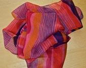 Vintage Rayon Chiffon Striped Long Scarf