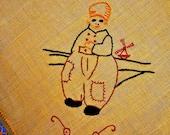 Vintage Linen DUTCH BOY Embroidered Tatted Centerpiece 18 x 19