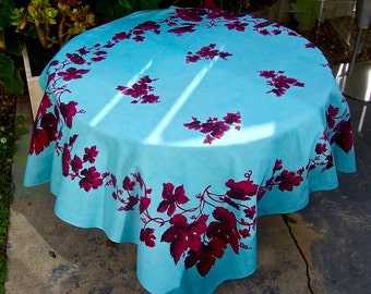 Vintage Mid Century Tablecloth ROSLYN Grape Leaf Blue