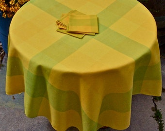 Vintage Plaid Linen Tablecloth Topper and Napkins yellows