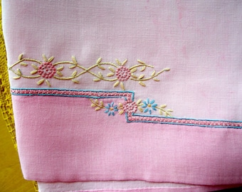 Vintage linen ART DECO Guest Towel Embroidered Pink Real Vintage Hand Dyed