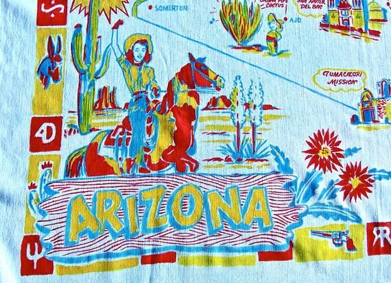 Vintage ARIZONA Tablecloth Souvenir Map COWGIRL