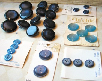 Blue Buttons and More Blue Buttons, Set of 30, Large Button Lot, On Cards, Assorted Vintage Lot, Blue Variety, Various Blues, Matching Sets