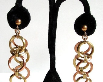 Hanging Circle Earrings, Clip On, Copper and Brass, Cascading Rings, 60's Earrings, Go Go Dancer, Sixties Jewelry, Big Retro Earrings, 70's