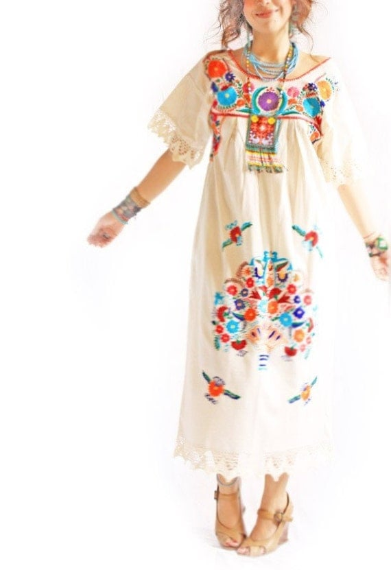 Mexican dress hand embroidered vintage romantic by