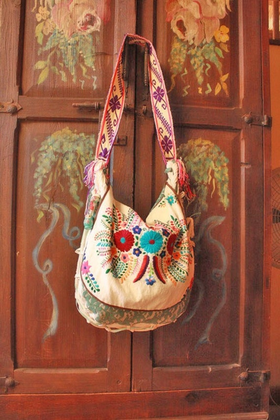 Mexican embroidered bag tote flores mexicanas by
