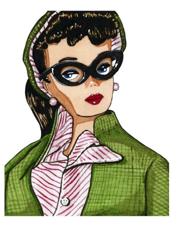Green Tweed Jacket Vintage Barbie Watercolor Print