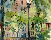 Street Scene- Art Print of Original Watercolor and Ink Painting of a City Park - Reproduction of Landscape Painting