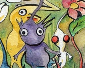 Pile of Pikmin - Nintendo Wall Hanging - Reproduction of Watercolor and Ink Illustration of Pikmin Plants - Geek Print