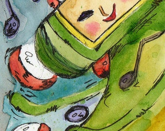 Katamari Damacy - Naa Na Na Na Na Na Naa - Print of Original Watercolor and Ink Illustration - Painting Reproduction