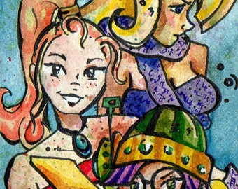 Chrono Trigger - Past Tense - Print of Watercolor Painting by Jen Tracy - Marle Lucca Ayla