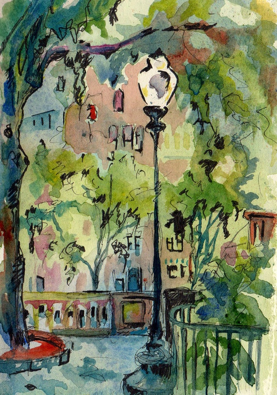 Watercolor and Ink Painting of a City Park - Eye Contact - Original Landscape Painting