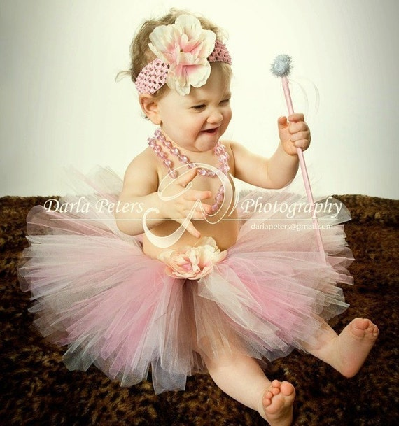 Custom Order, Pink Baby tutu with Headband and wand, girls size 6months, baby shower 1st birthday and photo props- RESERVED FOR lstrebler6