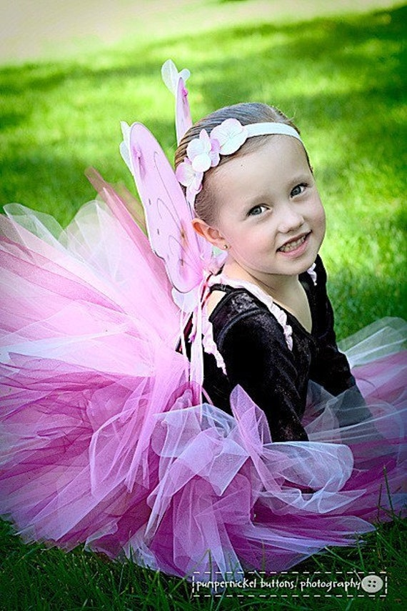 Custom Order, Halloween Costume Pink Butterfly Set, Tutu wings, headband, and wand, choose from girls 2t, 3t, 4t, RESERVED FOR bpossley