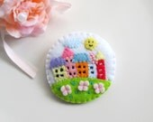 My Little Cute Colorful Neighbour Houses Brooch Pin. Gift for her. Spring Summer wear.