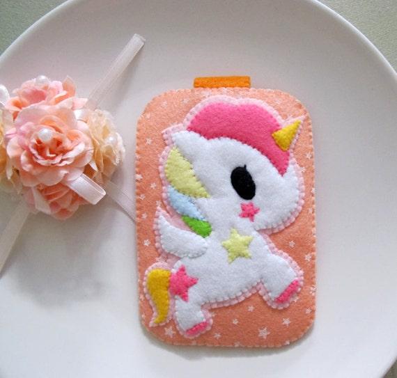 My Cute Pink Unicorn - Orange Stars Camera iphone Gadget Case with closure