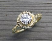 Moissanite Twig Halo Engagement Ring: Yellow, White, or Rose Gold; Forever Brilliant™