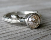 Grey Rose Cut Diamond Twig Ring in White Gold