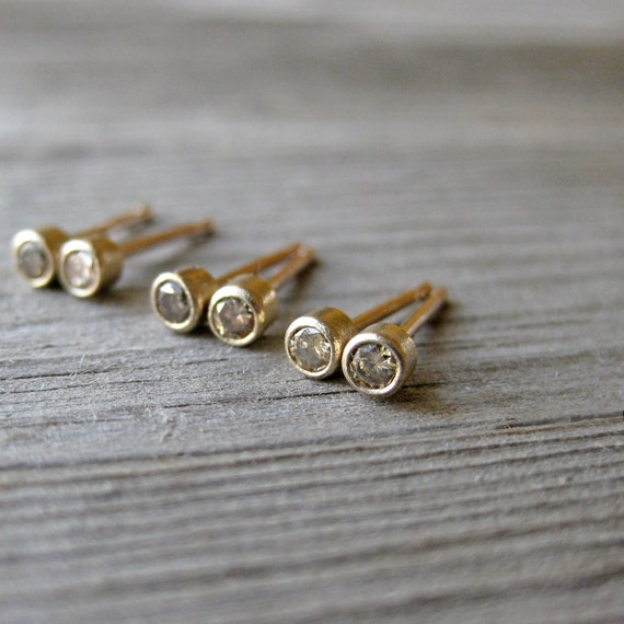 Small Champagne Diamond Stud Earrings in 14k Gold