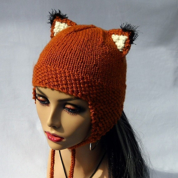 Foxy Fox Hat Knit Beanie with Fox Ears Earflaps Black Poms - Washable