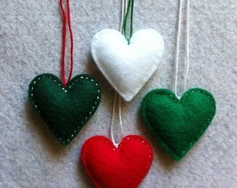 Christmas red, green and white felt ornaments Set of 4