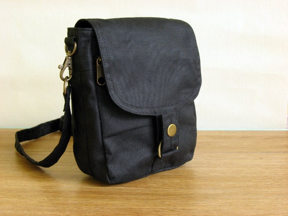 Waxed Canvas Travel Pouch, Waxed Canvas Bag, Waxed Canvas Pouch - The Minus Hipster Plus in Black Waxed Canvas