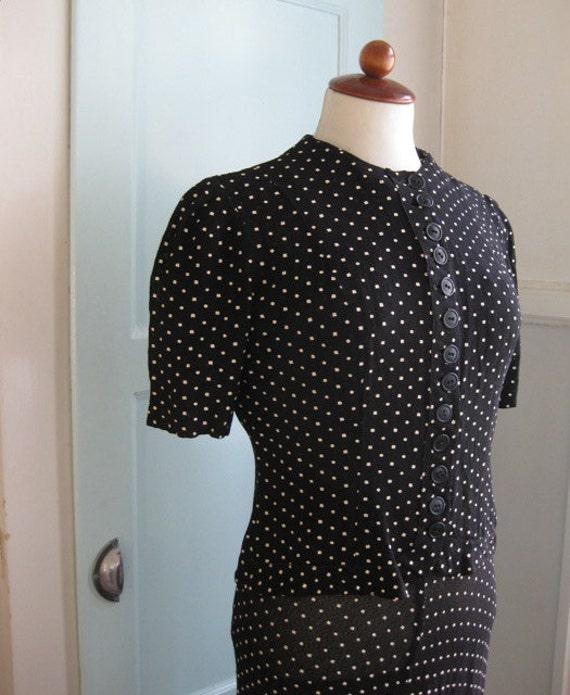 1930s 2-piece polkadot dress set - S