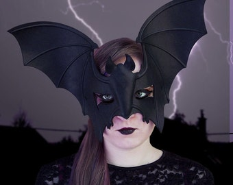 Bat Mask in Black Leather