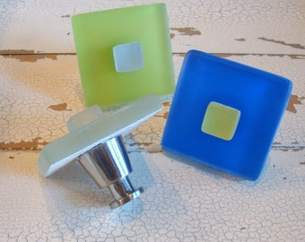 Beach Glass Knobs Drawer Pull Cabinet Knob Sea Green Blue Lime Yellow Nautical Decor