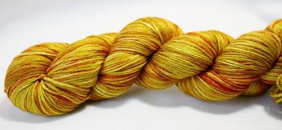 Goldenrod--hand dyed sock weight yarn, merino and silk, (437yds/100gm)