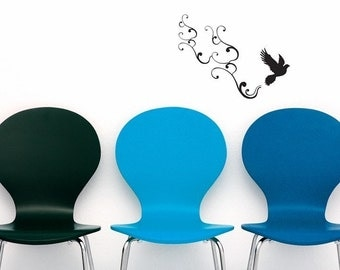 small bird flying with swirls vinyl wall decal